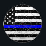 "Thin Blue Line Police Officers Memorial Flag Dart Board<br><div class=""desc"">Thin Blue Line Police Law Enforcement Memorial,  thin blue line,  america,  american,  honor,  law enforcement,  police,  tribute,  us,  usa,  us flag,  flag us,  police graphics,  protect and serve,  line of duty,  memorial day,  peace officer memorial,  may 15,  police symbol,  badge,  police officers,  police officer,  flag usa</div>"