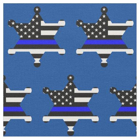 Thin Blue Line Police Sheriff Badge Pattern Fabric