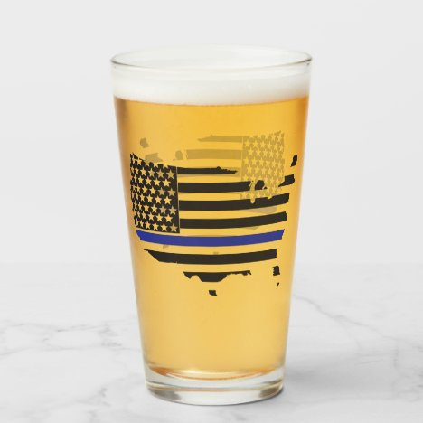 Thin Blue Line Police Support, USA Flag Patriotic Glass