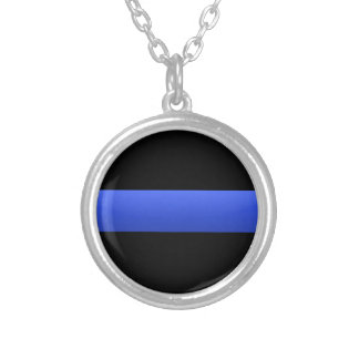 Thin Blue Line Police Supporter Silver Plated Necklace