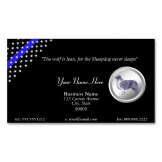 """Thin Blue Line Police """"The Sheepdog Never Sleeps"""" Magnetic Business Cards (Pack Of 25)"""