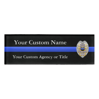 Thin Blue Line Police Virtues Badge Name Tag
