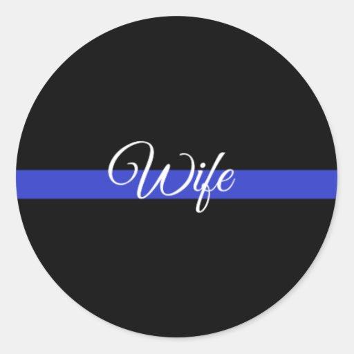 Zazzle Thin Blue Line: Police Wife Classic Round Sticker