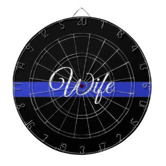Thin Blue Line: Police Wife Dartboard With Darts