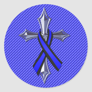 Thin Blue Line Prayer For Safety Cross and Ribbon Classic Round Sticker
