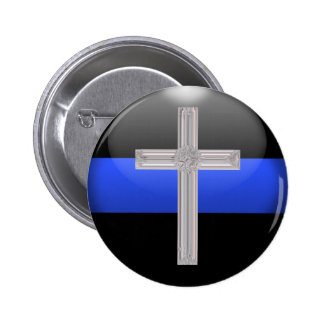 Thin Blue Line Prayer For Safety Pinback Button
