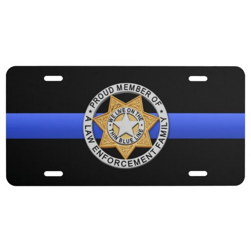 Thin Blue Line Proud Family Badge License Plate Zazzle