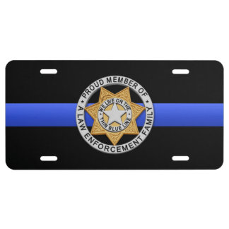 Thin Blue Line Proud Family Badge License Plate