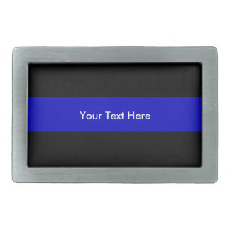 Thin Blue Line Rectangular Belt Buckle