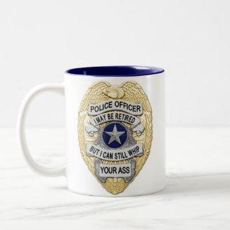 Thin Blue Line - Retired Badges Two-Tone Coffee Mug
