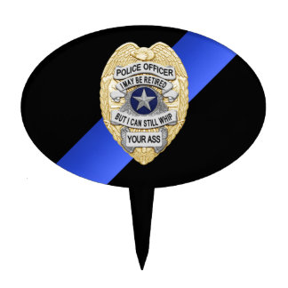 Thin Blue Line Retirement Badge Cake Topper