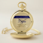 """Thin Blue Line Retirement Gift Watch Personalized<br><div class=""""desc"""">This thin blue line themed pocket watch is a perfect retirement gift for a man who has served in Law enforcement. It is elegant and has three text template fields for you to add commemorative details.</div>"""