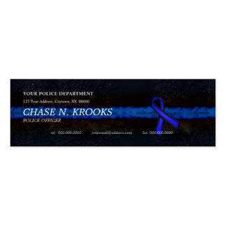Thin Blue Line Ribbon Police Officer Double-Sided Mini Business Cards (Pack Of 20)