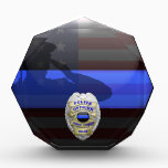"""Thin Blue Line Salute Plaque Customizable Badges<br><div class=""""desc"""">This design features our newly re-painted, ultra high resolution Thin Blue Line police badge design. Customize your plaque by choosing from one of four beautiful badge models. Then choose from a dozen badge center buttons, each one designed to honor your law enforcement member&#39;s service to the community. Our award plaque...</div>"""