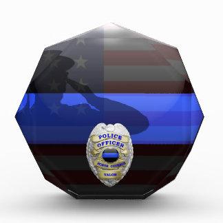 Thin Blue Line Salute Plaque Customizable Badges