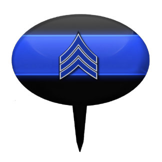 Thin Blue Line Sergeant Stripes Cake Topper
