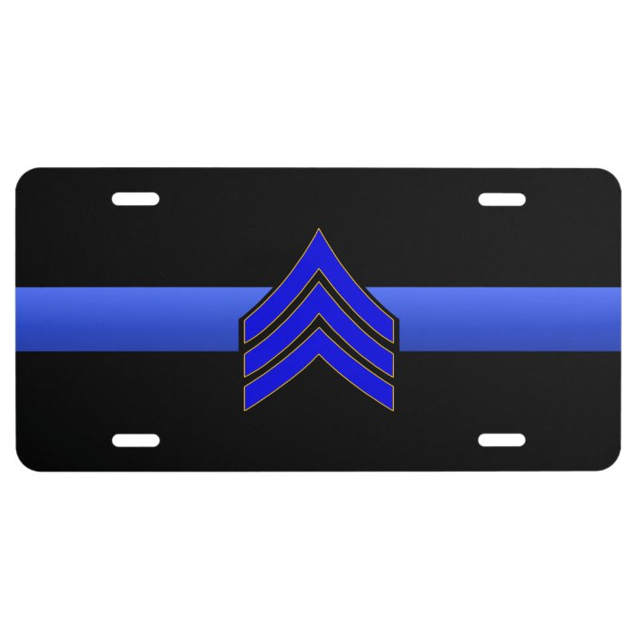 Thin Blue Line Police Sheriff Eagle Rank License plate