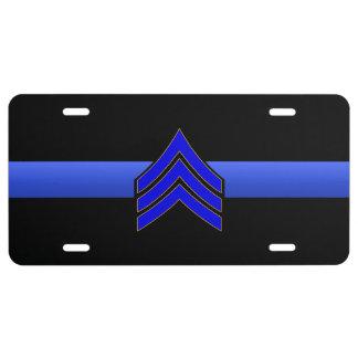 Thin Blue Line - Sergeant Stripes License Plate