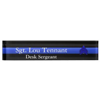 Thin Blue Line - Sergeant Stripes Rank Nameplate