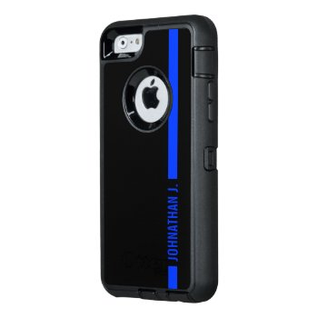 Thin Blue Line Serviceman Custom Name Otterbox Defender Iphone Case by colorjungle at Zazzle