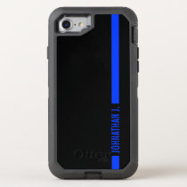 Thin Blue Line Serviceman Name OtterBox Defender iPhone 8/7 Case