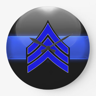 Thin Blue Line Sgt Stripes Whi Trim Rank Insignia Large Clock