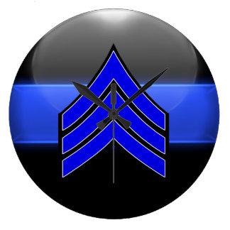 Thin Blue Line Sgt Stripes Whi Trim Rank Insignia Large Clock