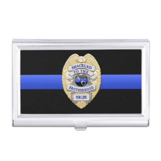 Thin Blue Line - Shackled to the Brotherhood Badge Business Card Case