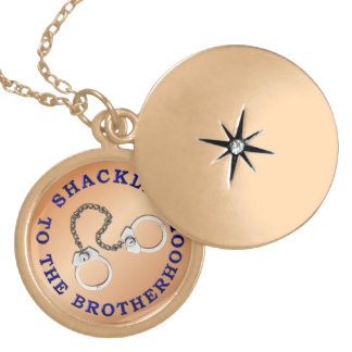 Thin Blue Line - Shackled to the Brotherhood Round Locket Necklace