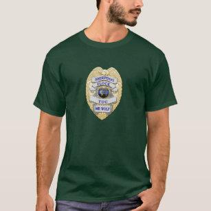 bbada4f7b Thin Blue Line Sheepdog Badge TBL button gold trim T-Shirt