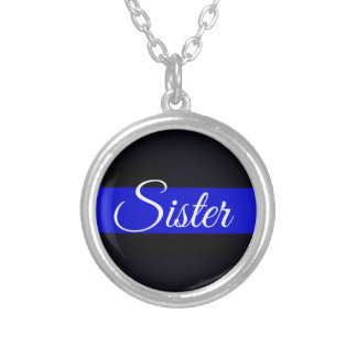 Thin Blue Line Sister Silver Plated Necklace