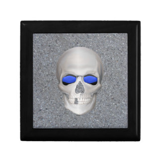 Thin Blue Line Skull Keepsake Box