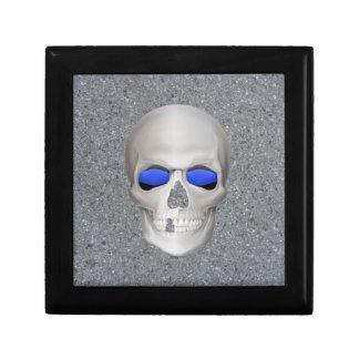 Thin Blue Line Skull Keepsake Box