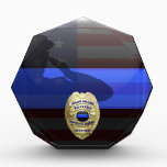 """Thin Blue Line - Solid Gold Retirement Badge Acrylic Award<br><div class=""""desc"""">Customize this beautiful gift with your own text to suit the circumstances. Our original Thin Blue Line Police Retirement Plaque was designed specifically for law enforcement officers. It makes a wonderful gift for any officer&#39;s retirement. This is not only a beautiful graphic tribute to those who serve but our Thin...</div>"""