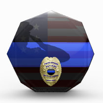 Thin Blue Line - Solid Gold Retirement Badge Acrylic Award