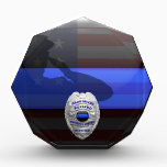 """Thin Blue Line - Solid Silver Retirement Badge Acrylic Award<br><div class=""""desc"""">Customize this beautiful gift with your own text to suit the circumstances. Our original Thin Blue Line Police Retirement Plaque was designed specifically for law enforcement officers. It makes a wonderful gift for any officer&#39;s retirement. This is not only a beautiful graphic tribute to those who serve but our Thin...</div>"""