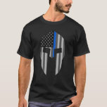Thin Blue Line Spartan T-shirt at Zazzle