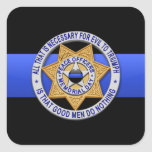 Thin Blue Line Square Stickers