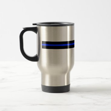 Coffee Themed Thin Blue Line Stainless Steel Travel Mug