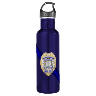Thin Blue Line Stainless Steel Water Bottle