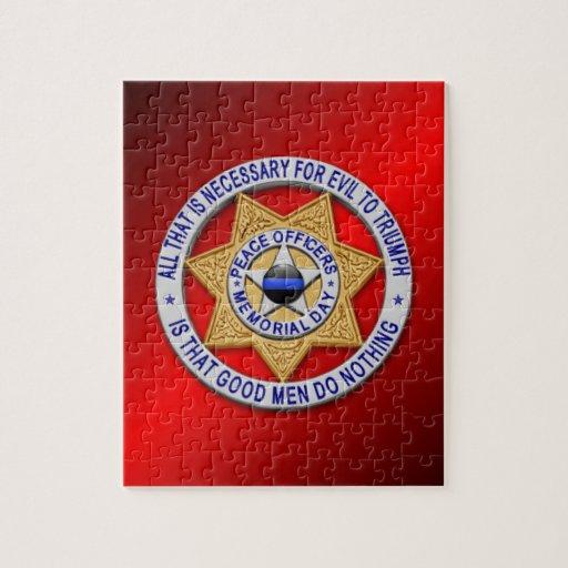 Thin Blue Line Star Badge Jigsaw Puzzles