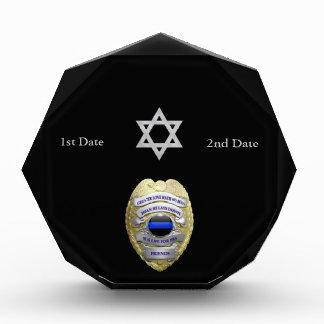 Thin Blue Line Star of David Memorial Badge Award