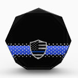 "Thin Blue Line - Stars and Flag Shield Award<br><div class=""desc"">Customize this beautiful gift with your own text to suit the circumstances. This design is intended to honor the courageous men and women who protect our communities. This police,  sheriff and law enforcement symbol is beautiful graphic tribute to those who serve and those who have made the ultimate sacrifice.</div>"