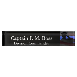 Thin Blue Line - Stars and Stripes Flag Salute Desk Name Plate