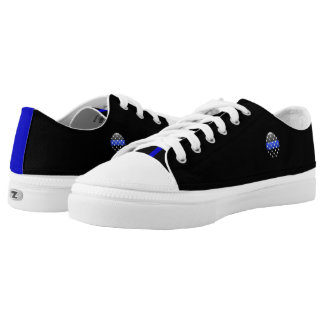 Thin Blue Line Stars Buttons Low-Top Sneakers