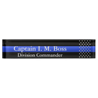 Thin Blue Line - Stars Desk Name Plate