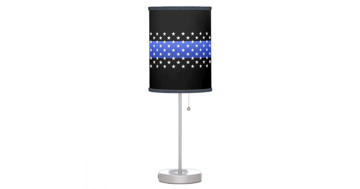 Thin blue line stars table lamp zazzle for Design table lamp giffy 17 7