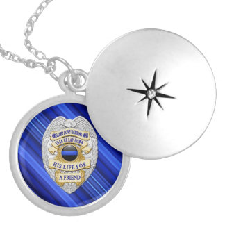 Thin Blue Line Stripes & Badge Locket Necklace