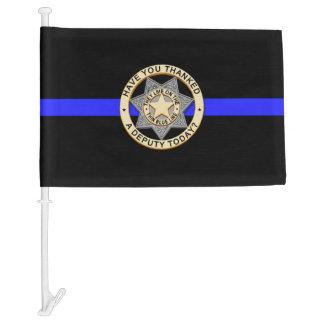 Thin Blue Line Thank You Badge Car Flag