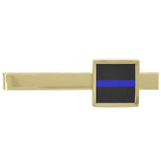Thin Blue Line Gold Finish Tie Clip